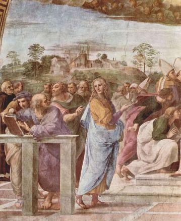 Bramante (con el libro) y Della Rovere (de pie, en primer plano)